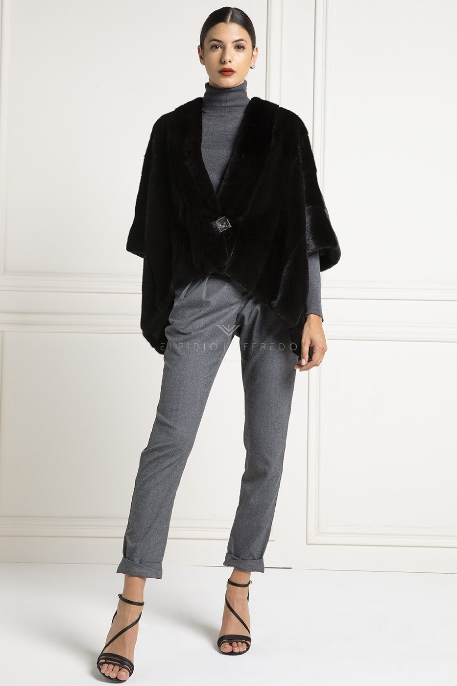 Blackglama Mink Cape with Round Collar - Length 70 cm