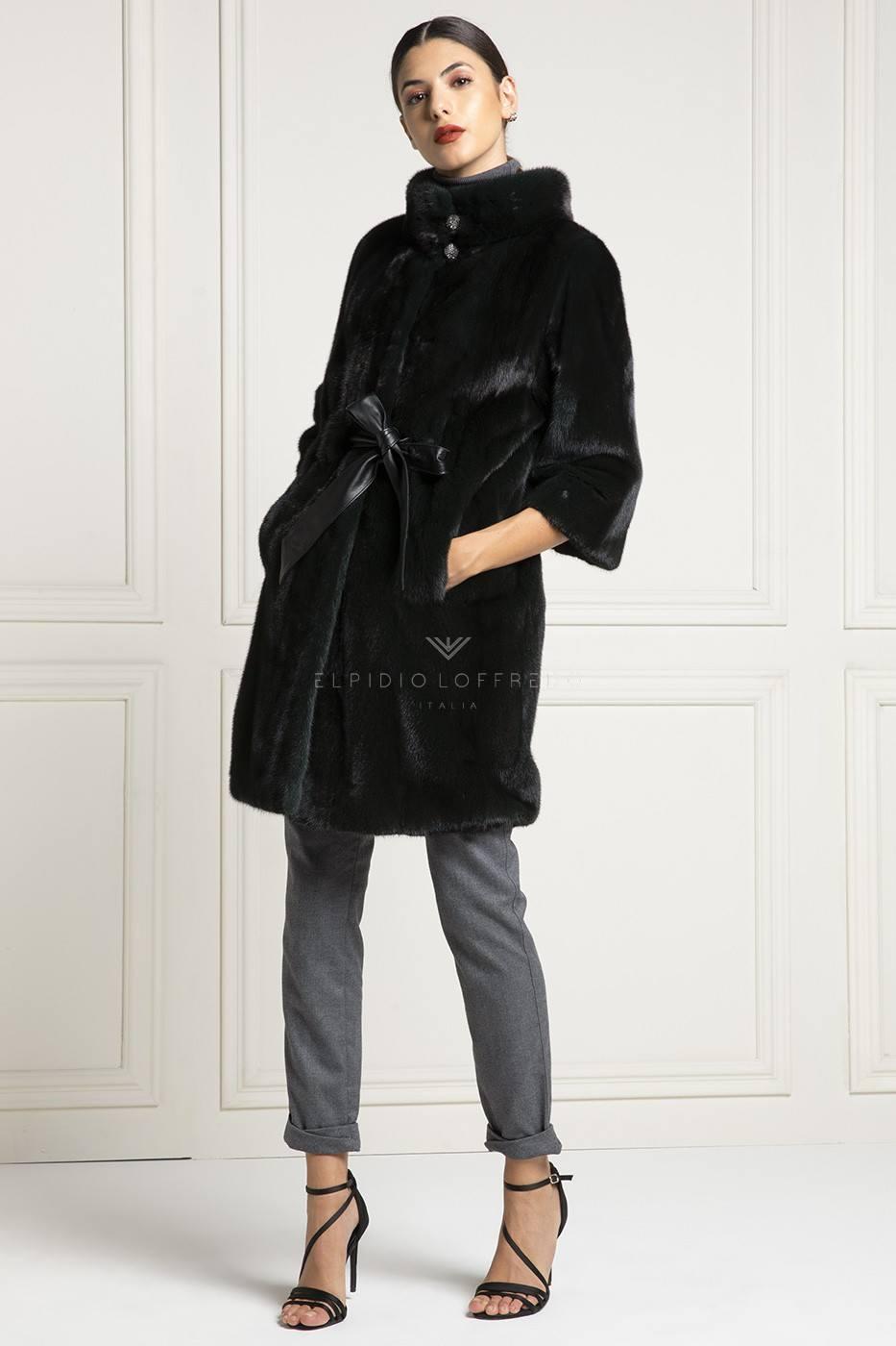 Dark Green Mink Coat with round collar - Length 90 cm