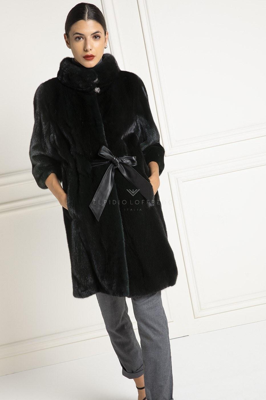 Cappotto di Visone Verde con Collo Rotondo - Lunghezza 90 cm