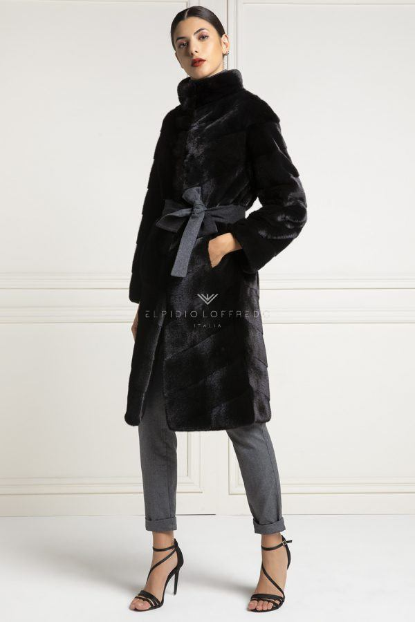 Cashmere Loro Piana Coat with Beige Chinchilla Fur