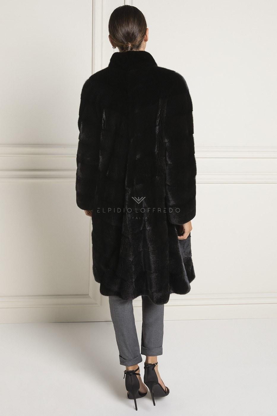 Cappotto di Visone Blackglama con Collo Rotondo - Lunghezza 105 cm