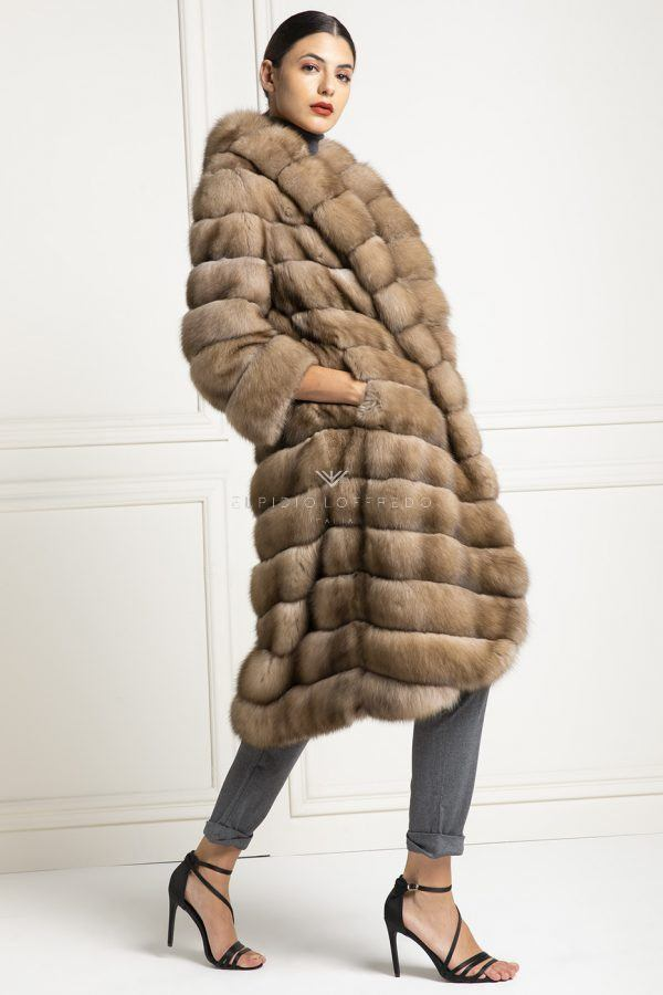 Barguzinsky Russian Sable Fur Coat - Titanio Color - Length 115 cm