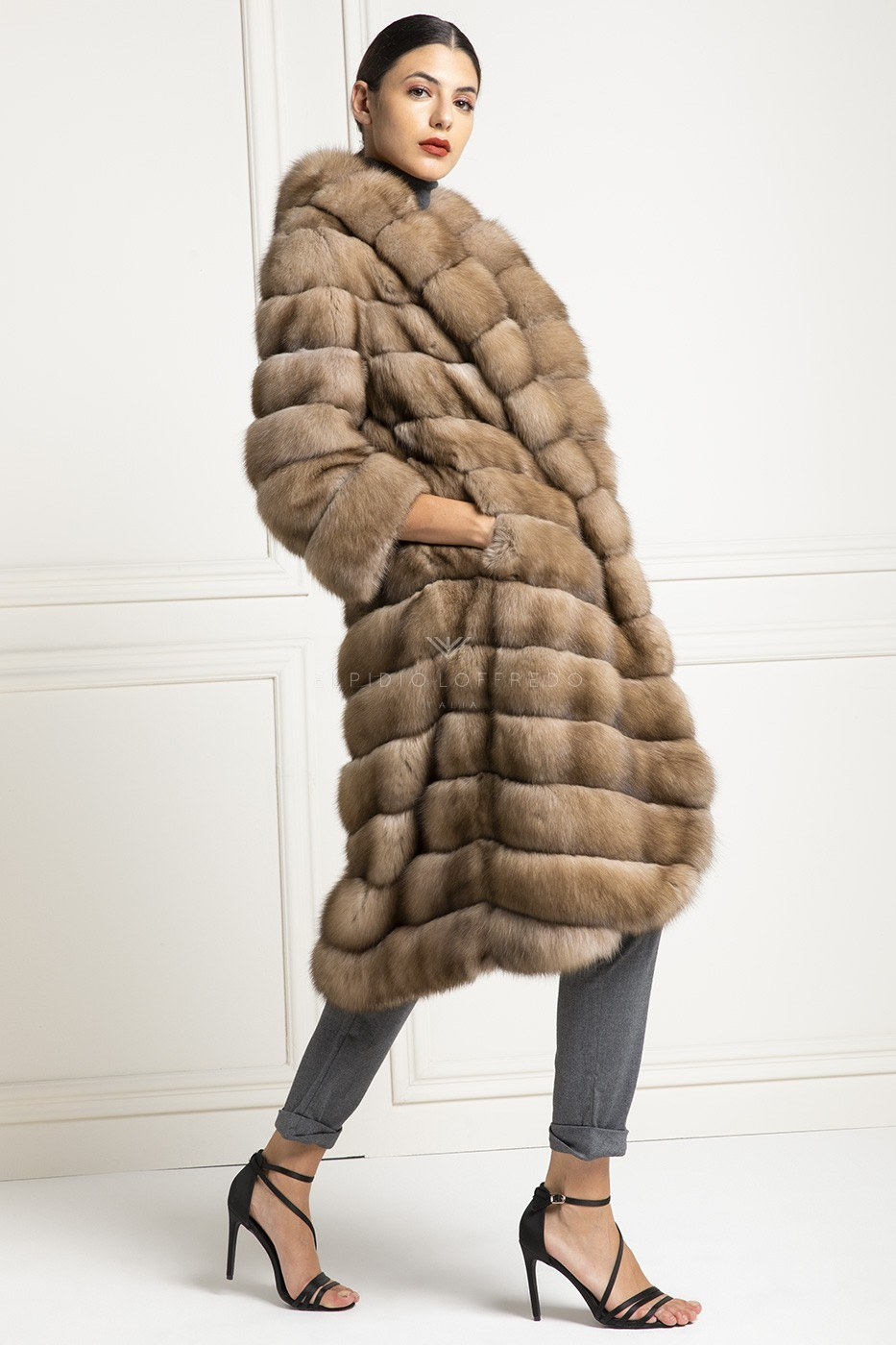 Barguzinsky Russian Sable Fur Coat - Titanio Color - Length 115 cm