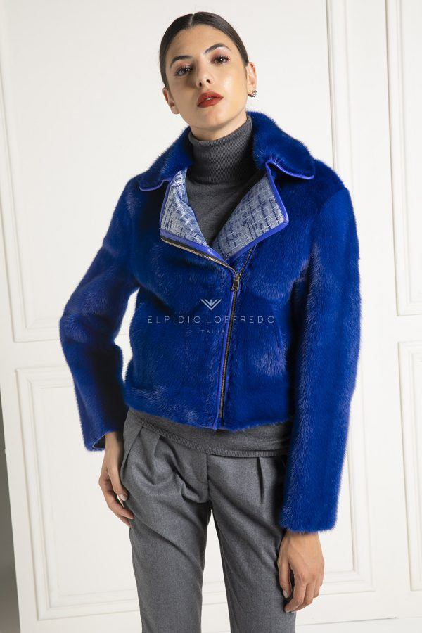 Blue Mink Bomber with Lace - Length 55 cm