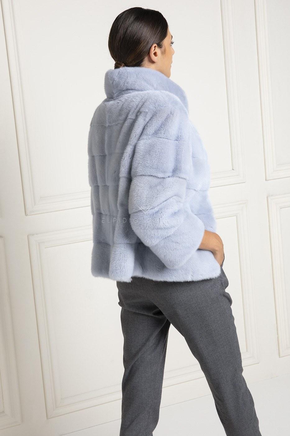 Жакет из Голубой Норки - Длина 65 см