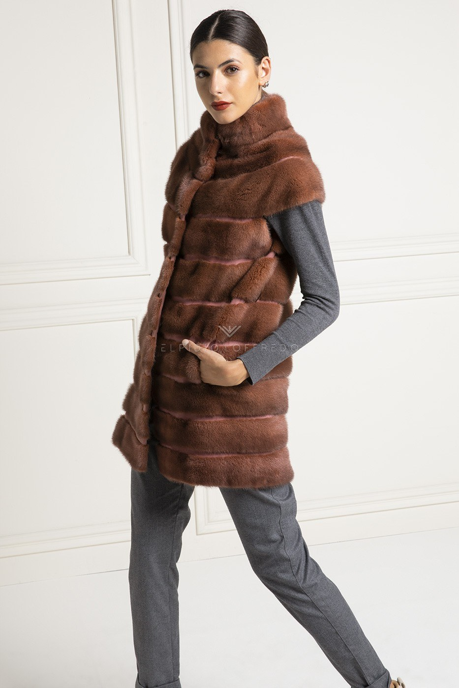 Red Mink Vest with Buttons - Length 90 cm