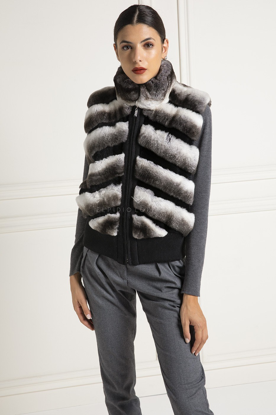Orylag Fur Vest with Zip - Length 60 cm