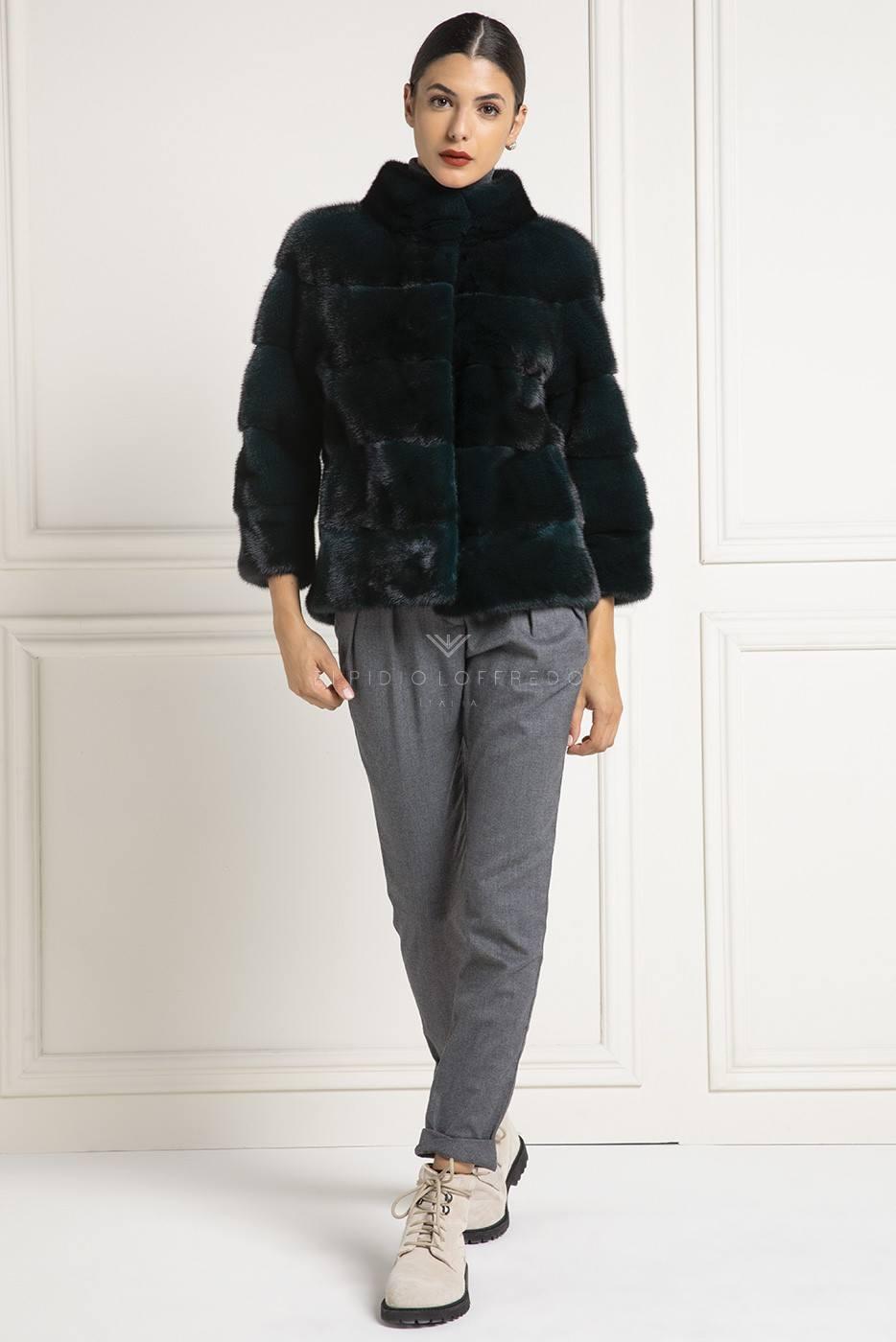Dark Green Mink Fur Jacket - Length 65 cm