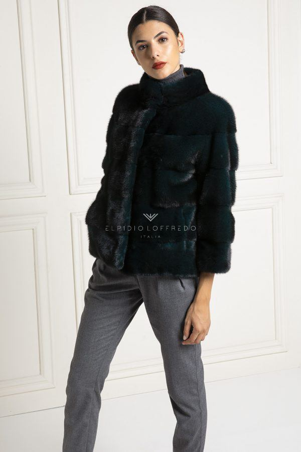 Dark Green Mink Fur Jacket - Length 65 cm