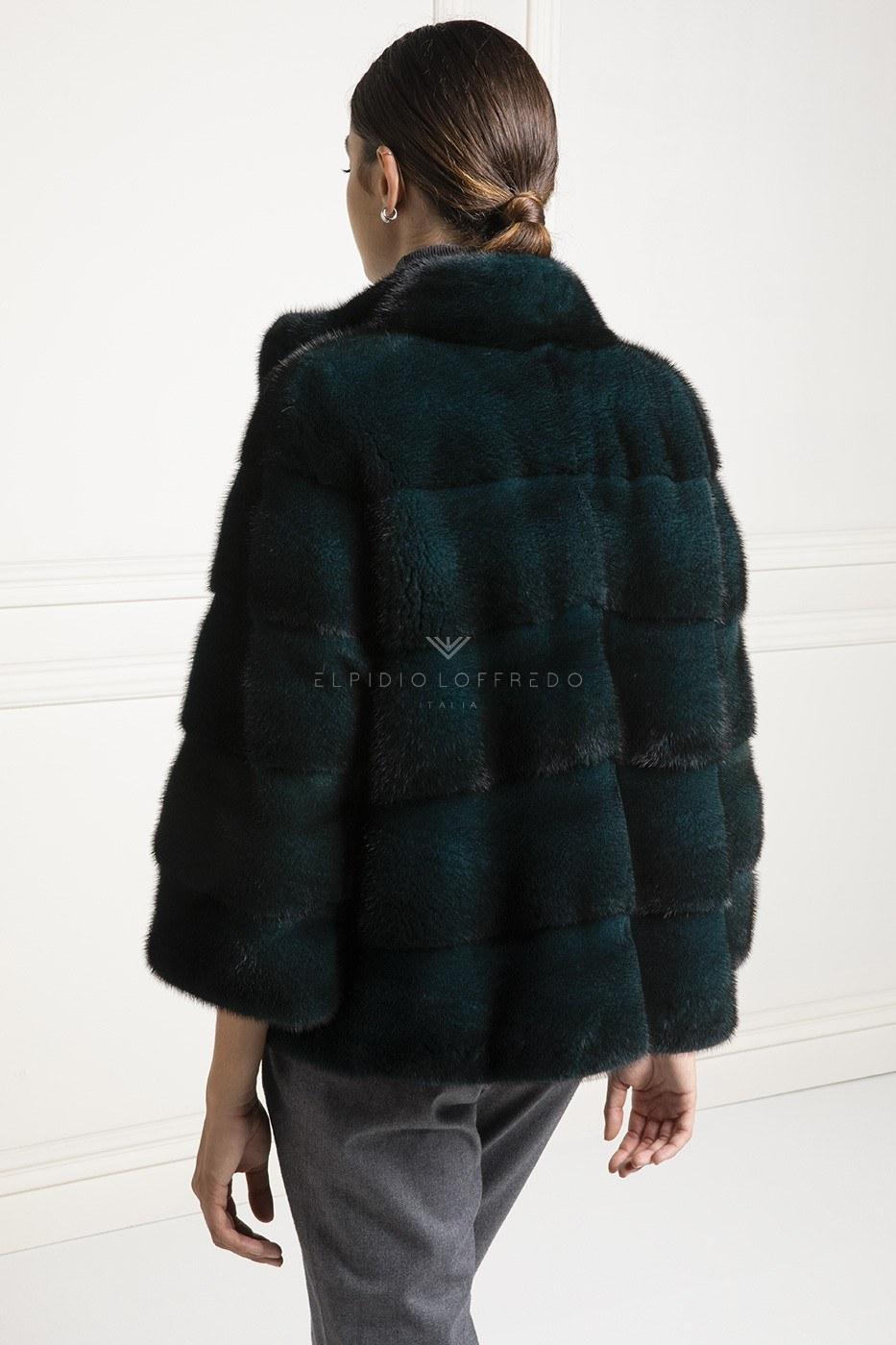 Giacca di Visone Verde - Lunghezza 65 cm