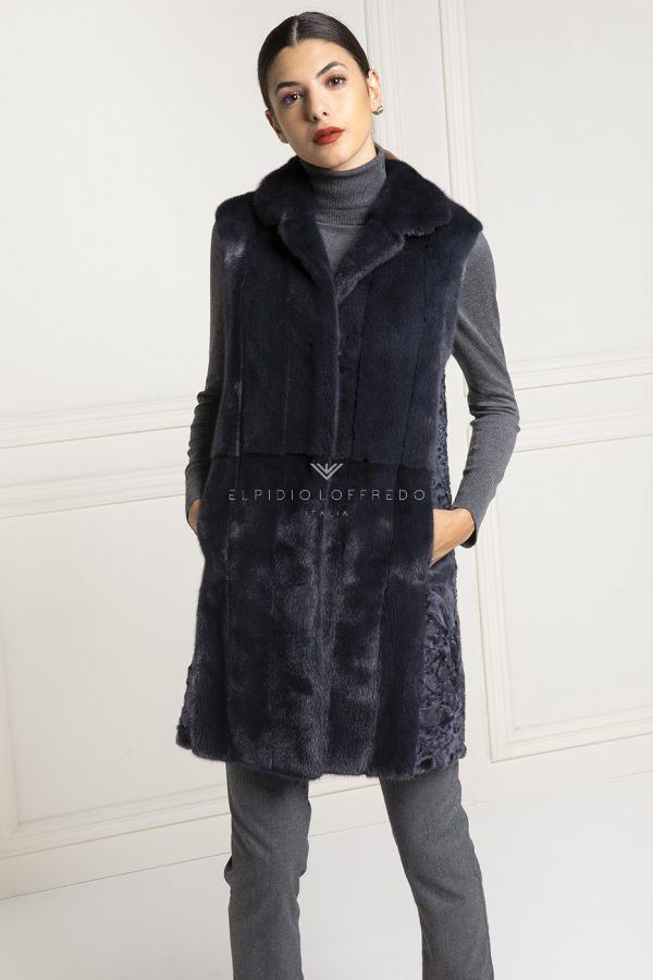 Blue Swakara Fur Vest - Length 80 cm