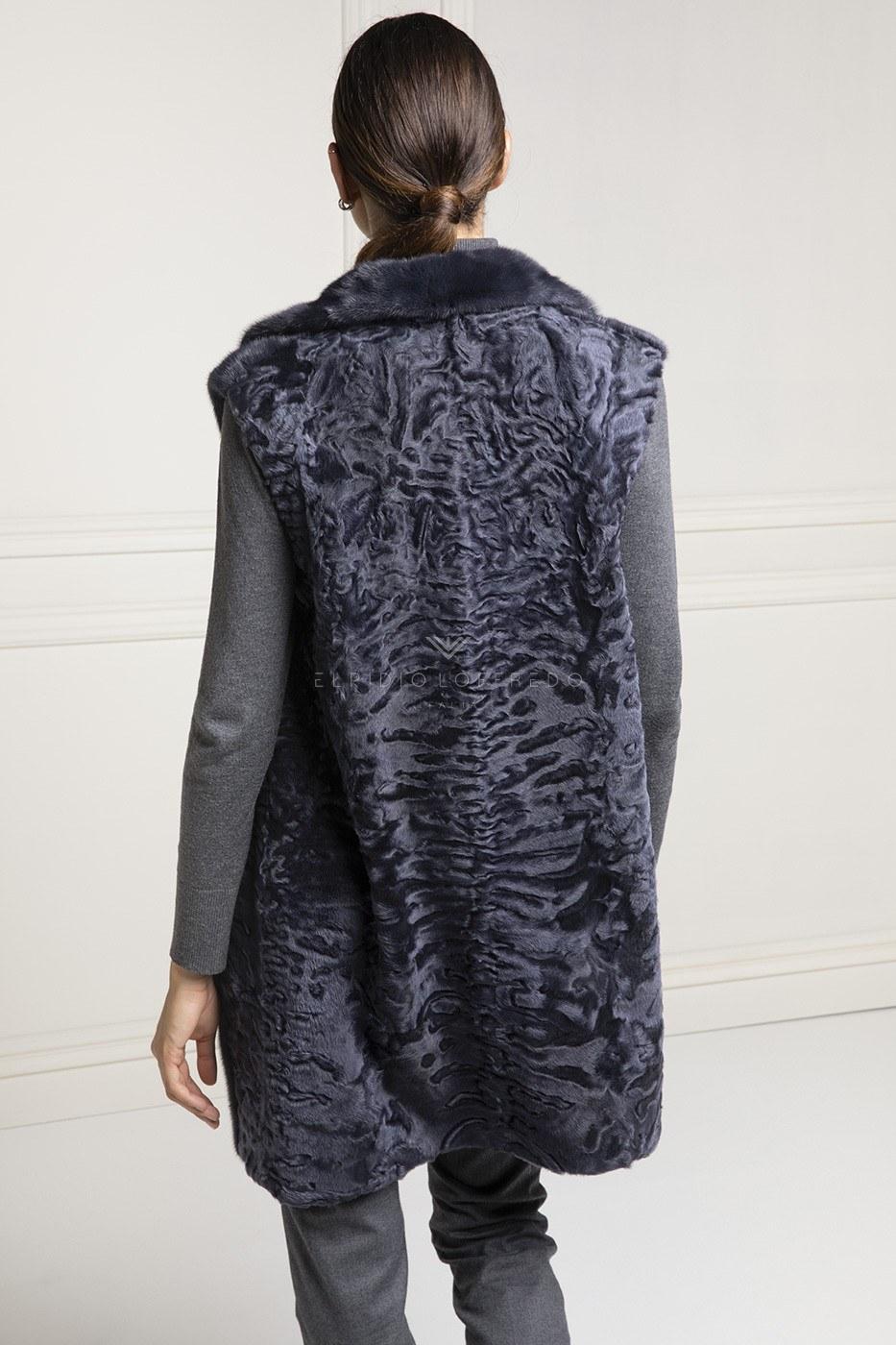 Blue Swakara Fur Vest - Length 80 cm