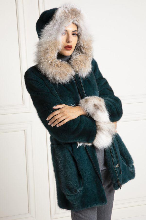 Mink Parka with Lynx Fur - Length 70 cm