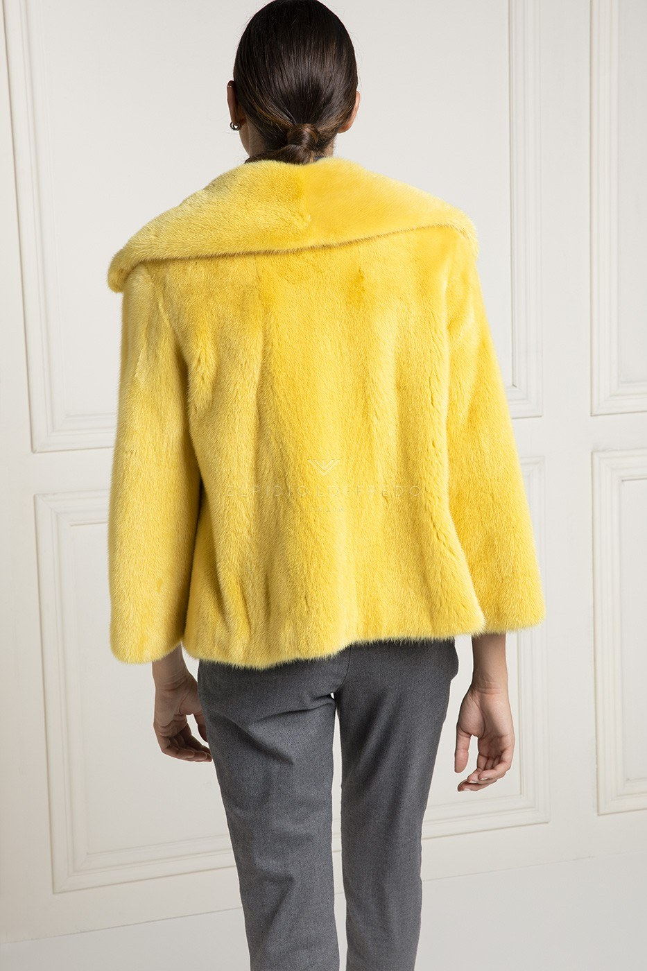 Yellow Mink Jacket - Length 65 cm