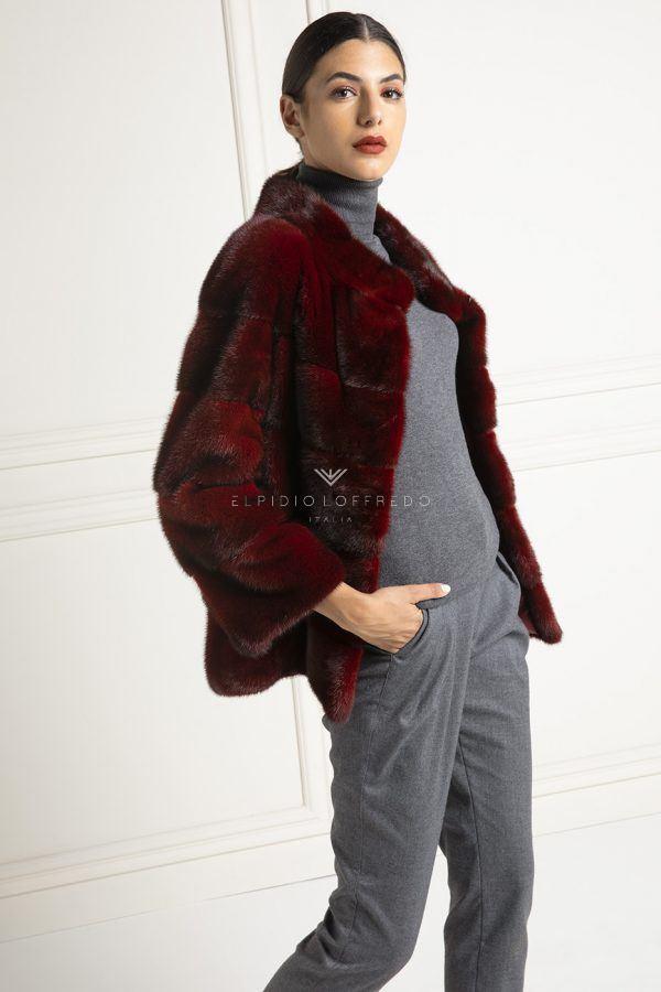 Giacca di Visone Rosso - Lunghezza 65 cm