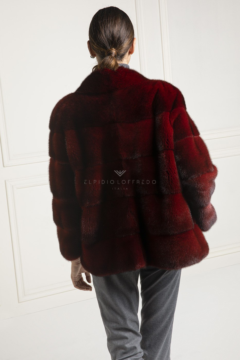 Red Mink Fur Jacket - Length 65 cm