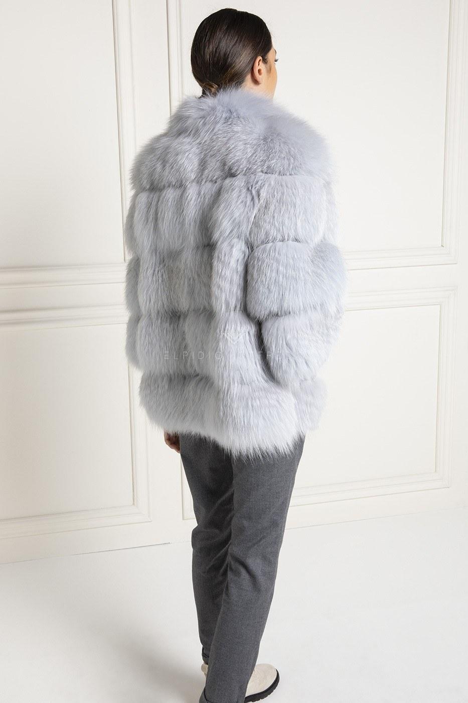 Giacca di Volpe con Collo Rotondo - Lunghezza 70 cm