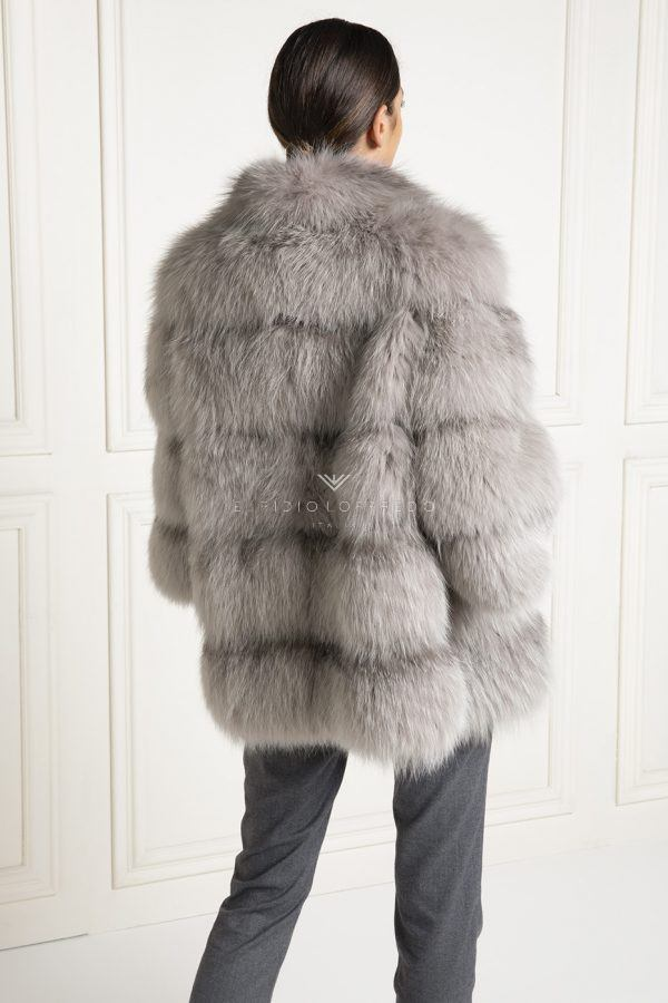 Grey Fox Jacket with Round Collar - Length 70 cm