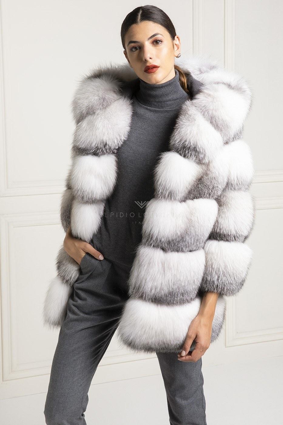 Giacca di Volpe Shadow Blue Frost con cappuccio - Lunghezza 70 cm