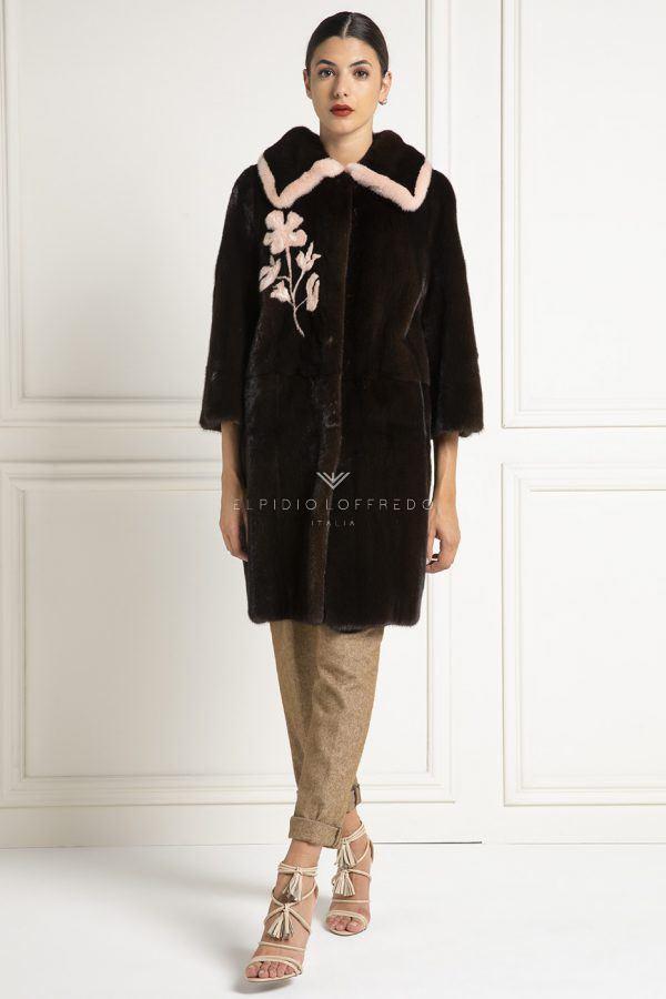 Cappotto di Visone Marrone con fiore rosa - Lunghezza 90 cm