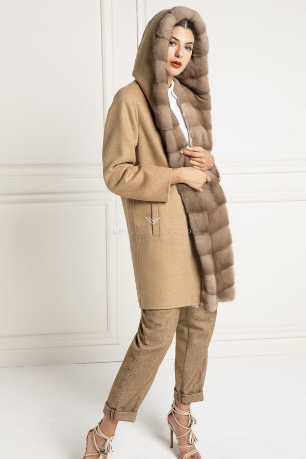 Cashmere Loro Piana Coat with Mink Fur - Length 90 cm