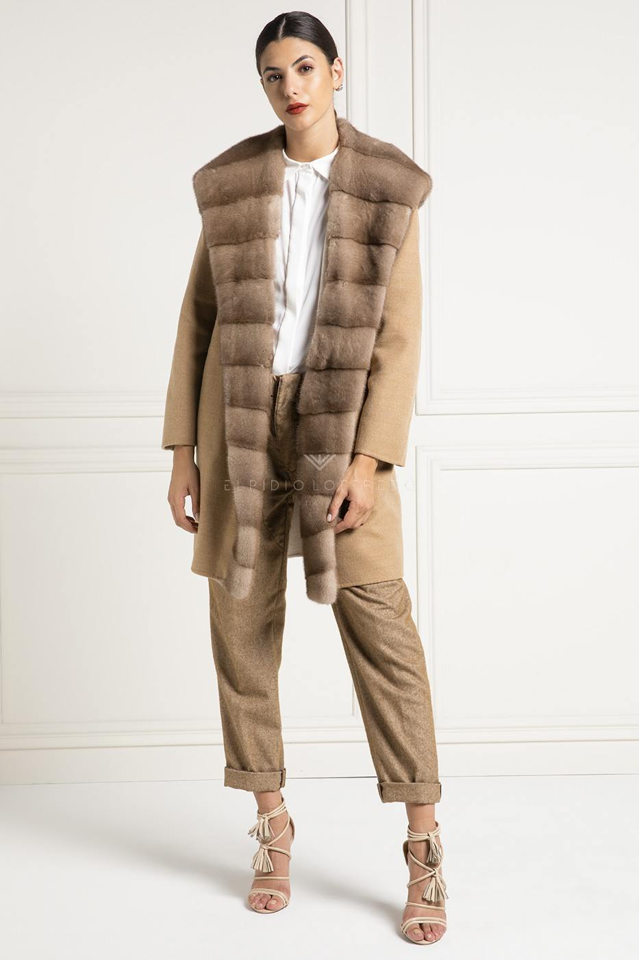Cappotto di Cashmere Loro Piana con Visone - Lunghezza 90 cm