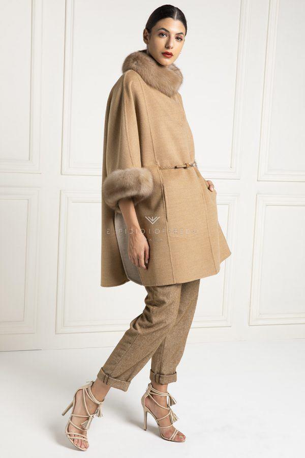 Cappotto di Cashmere Loro Piana con Pelliccia di Zibellino - Lunghezza 85 cm