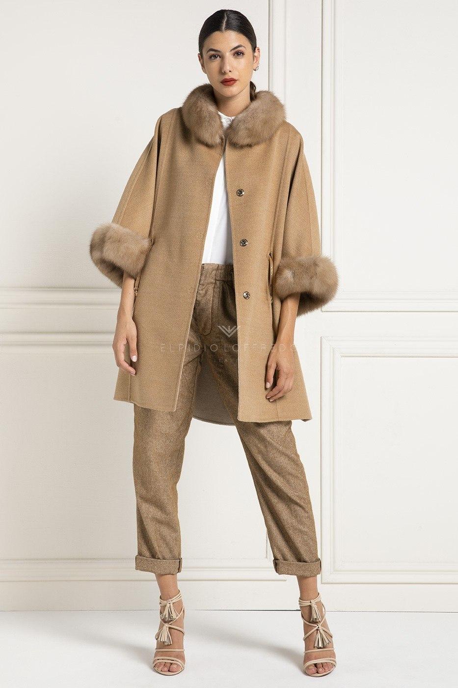 Cashmere Loro Piana Coat with Sable Fur – Length 85 cm