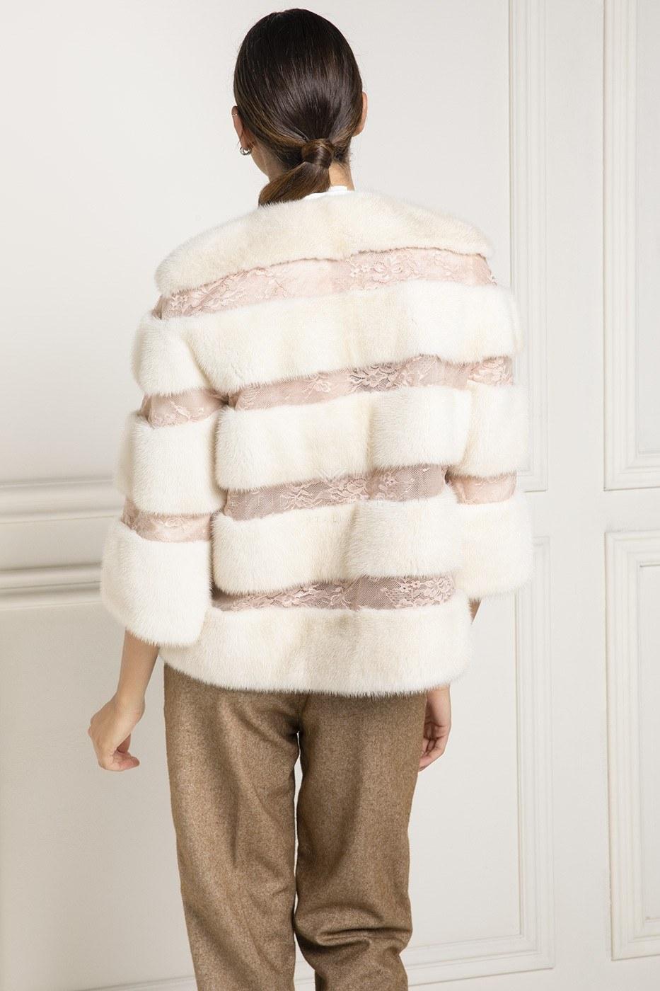 Mink Fur With Lace - Length 65 cm