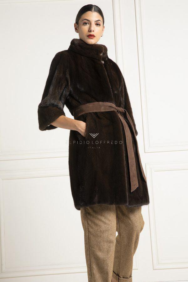Cappotto di Visone Marrone con Collo Rotondo - Lunghezza 90 cm