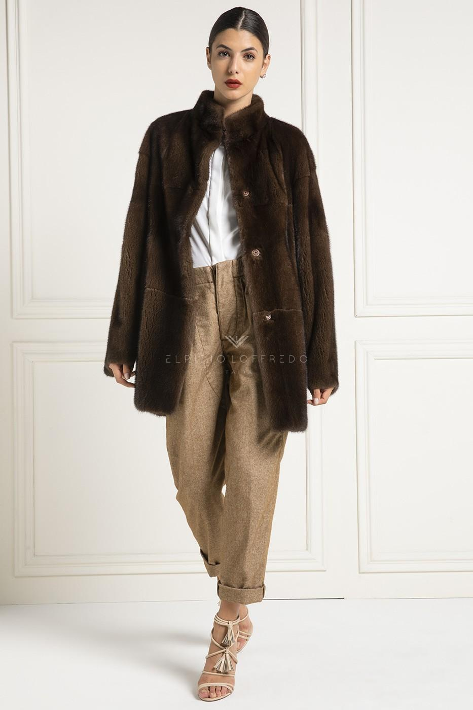 Brown Mink Fur Double Face - Length 85 cm