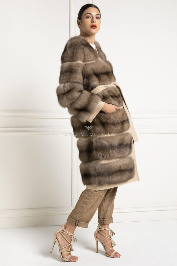 Barguzinsky Russian Sable Coat with Loro Piana Cashmere - Titanio Color