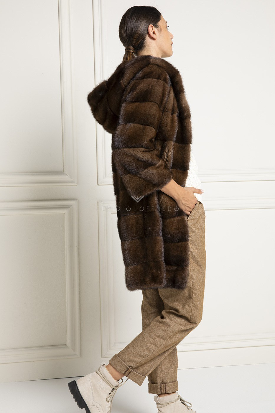Brown Mink Coat with Hood - Length 90 cm