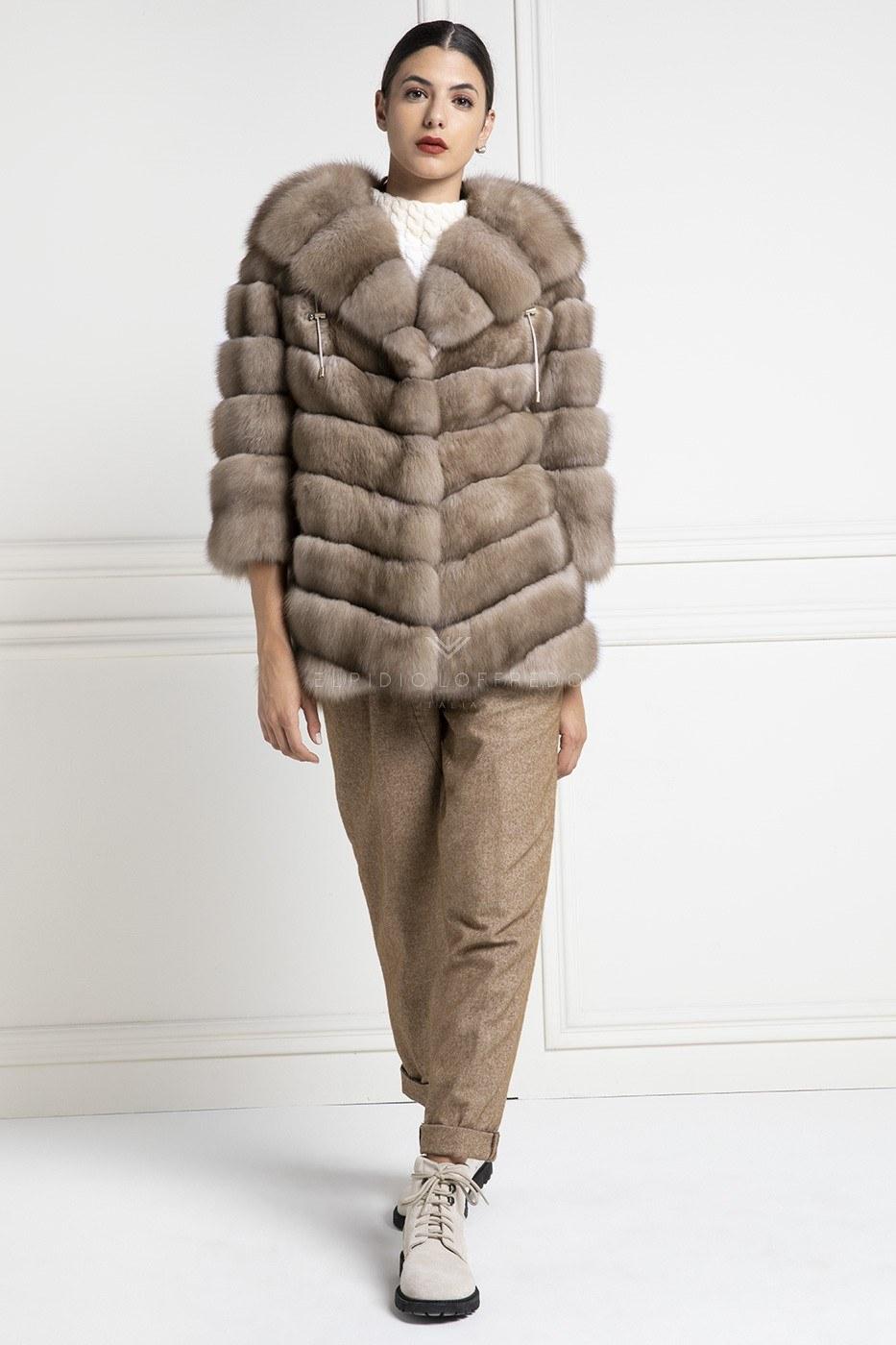 Giacca di Zibellino Russo con Cappuccio - Madreperla - Lunghezza 70 cm