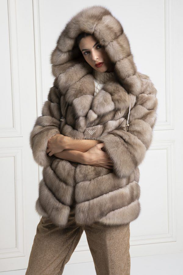 Barguzinsky Russian Sable Fur with Hoodie - Madreperla Color