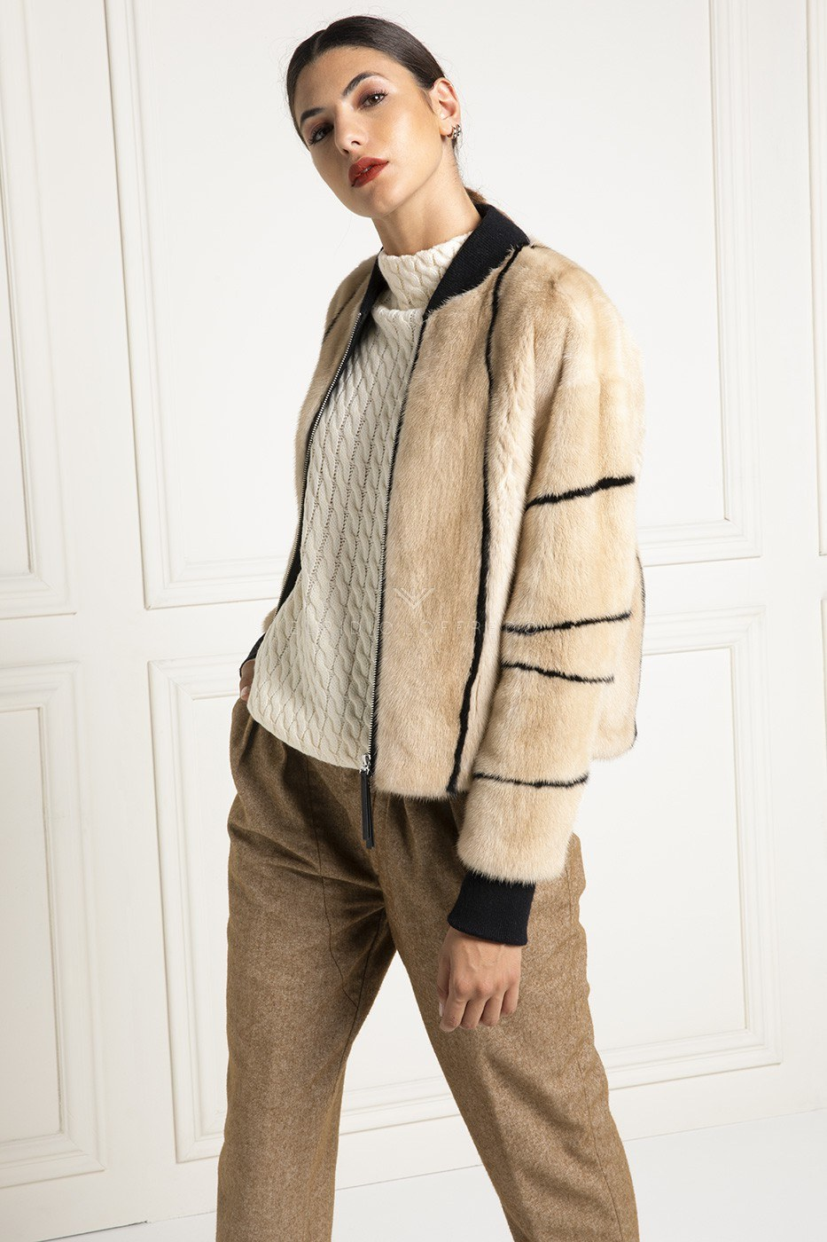 Pearl Mink Bomber with Wool - Length 60 cm