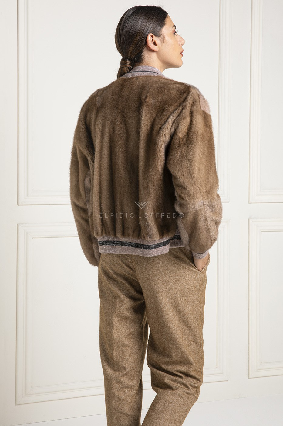 Mink Bomber with Wool - Length 60 cm