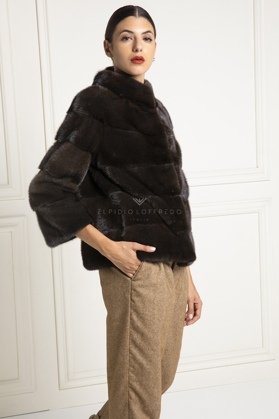 Brown Mink Jacket with whole skins - Length 60 cm