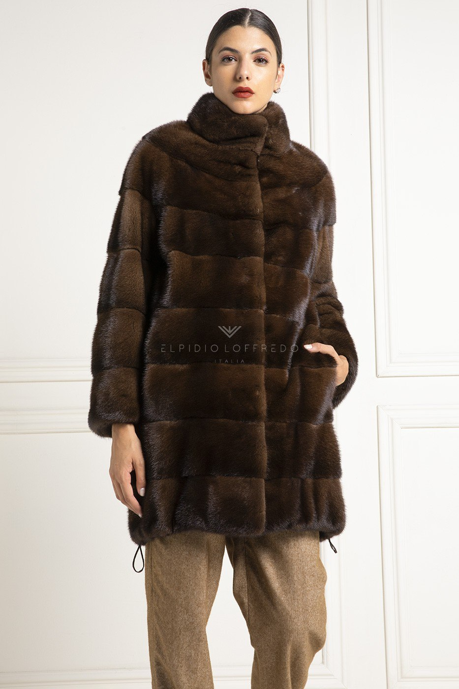 Brown Mink Fur Coat with Round collar - Length 90 cm