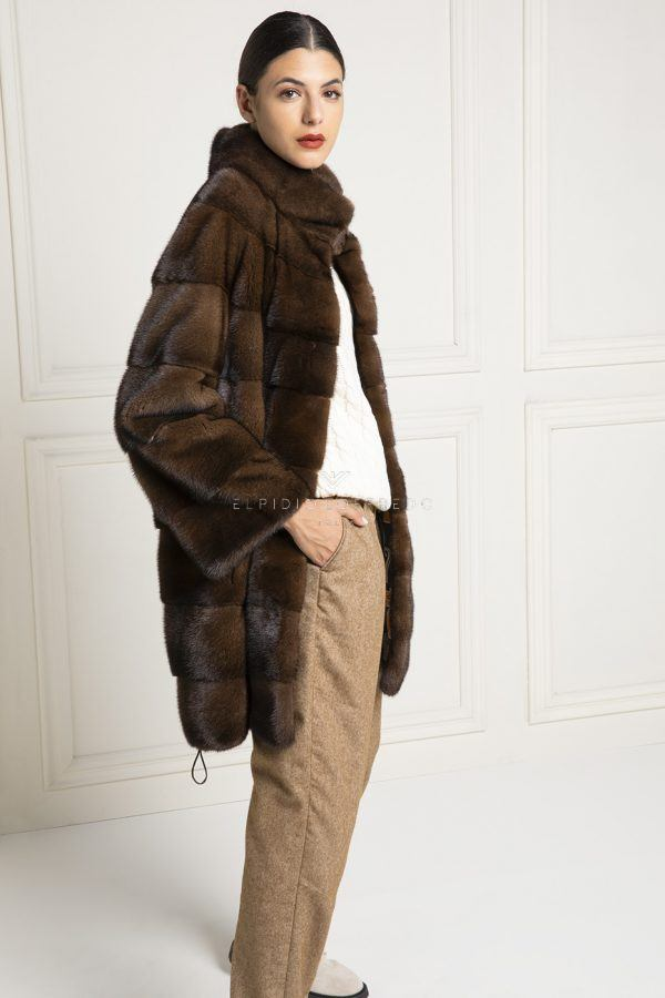 Brown Mink Fur Coat With Round Collar, How Much Does It Cost To Get A Fur Coat Cleaned