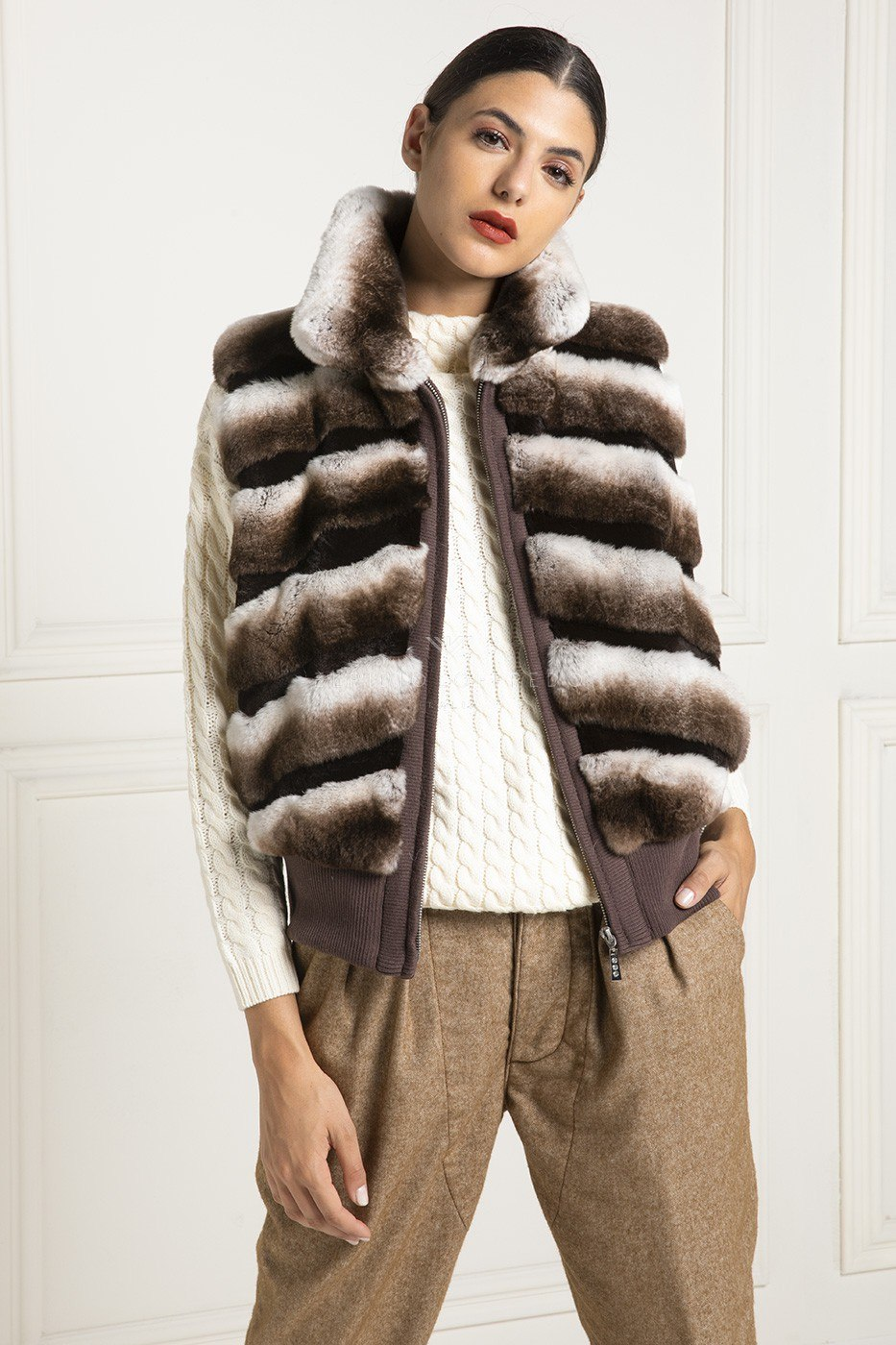 Orylag Fur Vest with round collar- Length 60 cm
