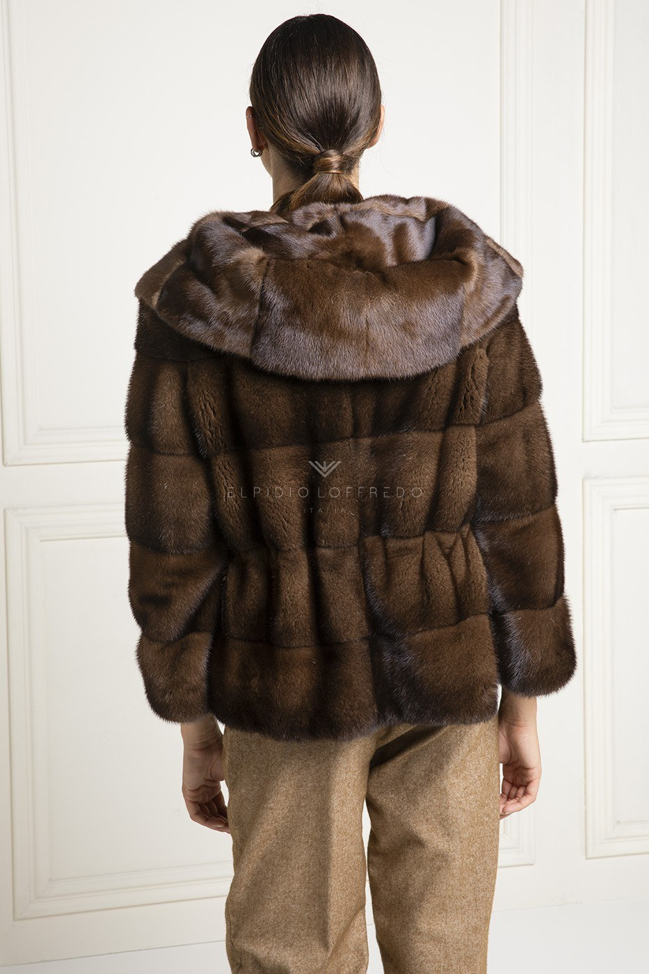 Brown Mink with Hood - Length 65
