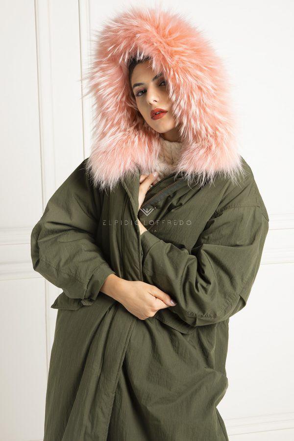 Parka con collo in pelliccia di volpe rosa - Cappotto Parka lungo con cappuccio