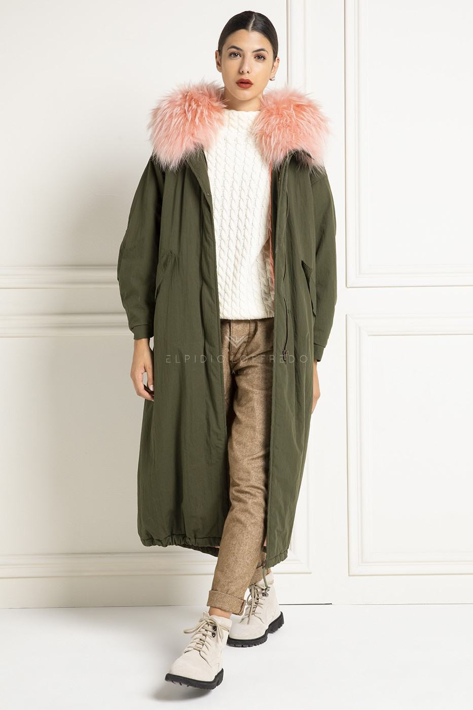 Parka with Fox and Goose Down with Hood