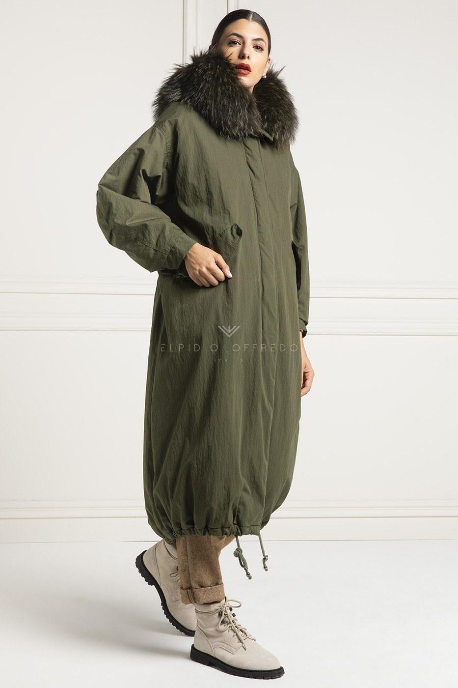 Parka con collo in pelliccia di volpe - Cappotto Parka lungo con cappuccio