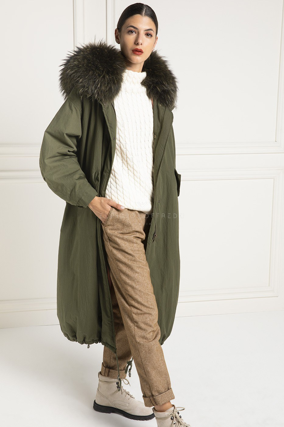 Parka with Fox and Goose Down with whole skins