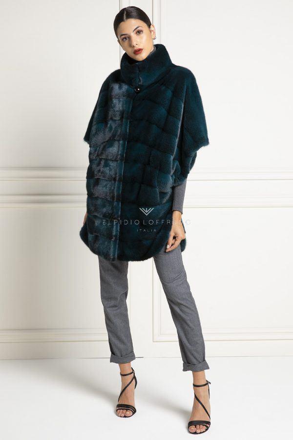 Cappotto di Visone Verde Cross - Lunghezza 85 cm
