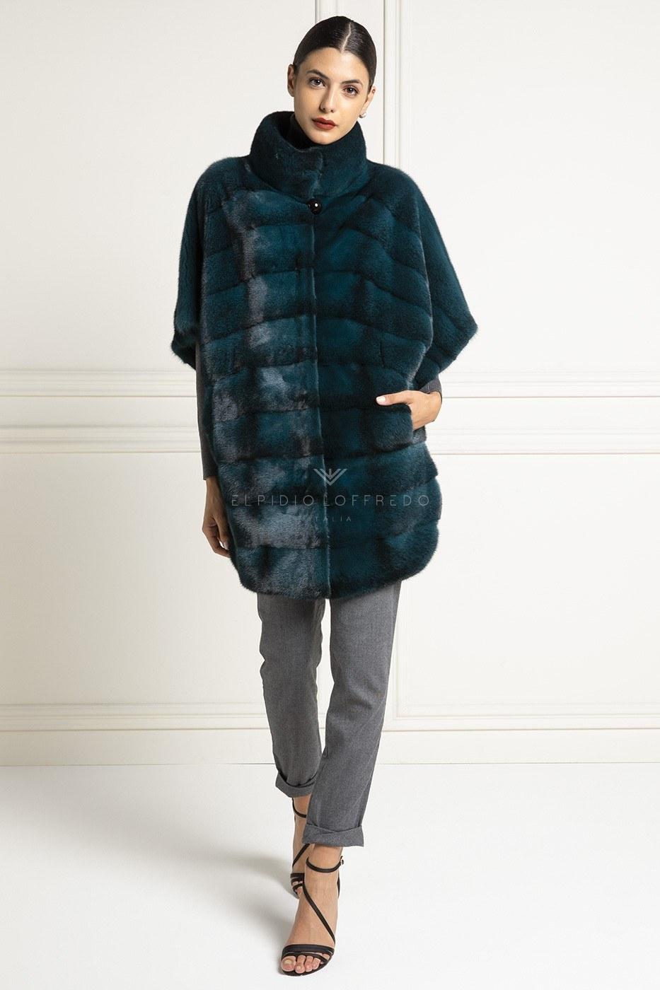 Black Cross Green Mink Coat - Length 85 cm