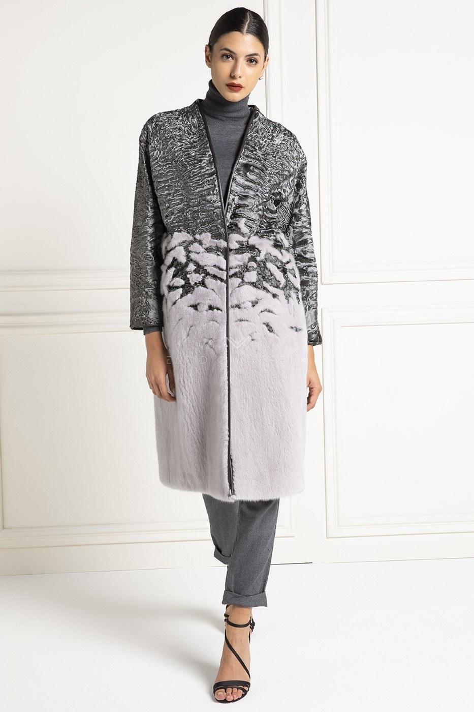 Cappotto di Swakara Argentato con Visone - Lunghezza 110 cm
