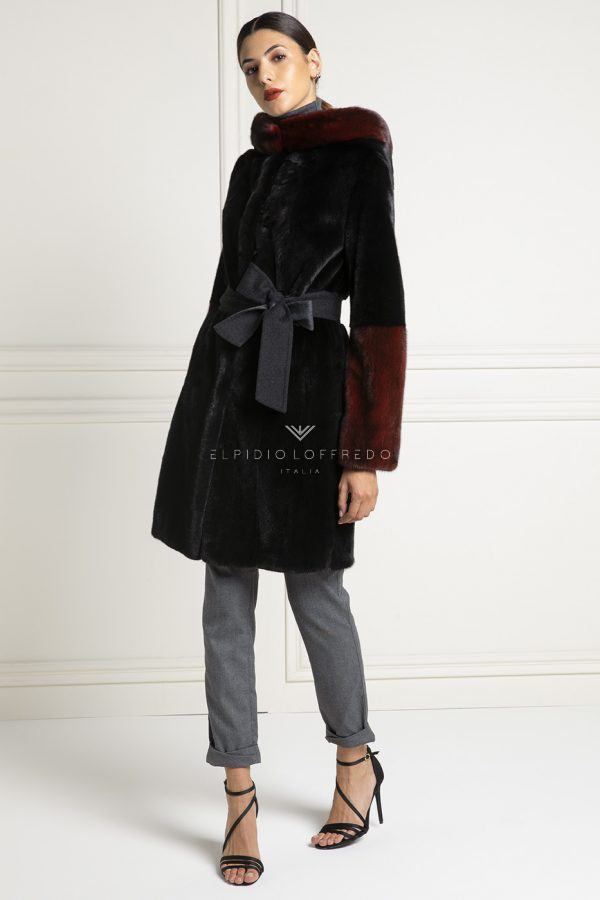 Blackglama Mink Coat with Hood - Length 90 cm